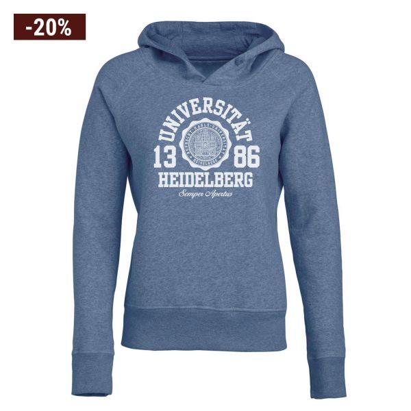 Damen Organic Hooded Sweatshirt, heather blue, marshall