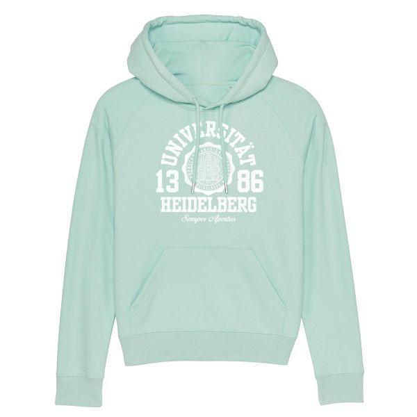 New Damen Organic Hooded Sweatshirt, caribbean blue, marshall
