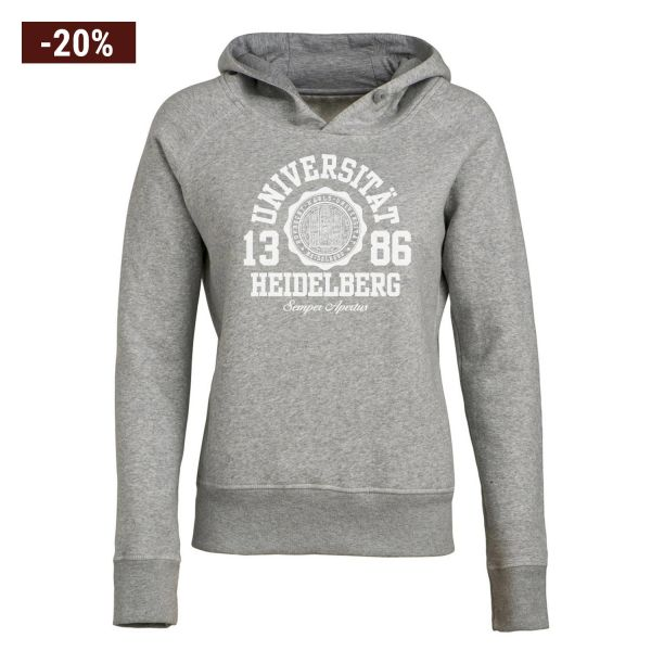 Women Organic Hooded Sweat Shirt, mid heather grey, marshall