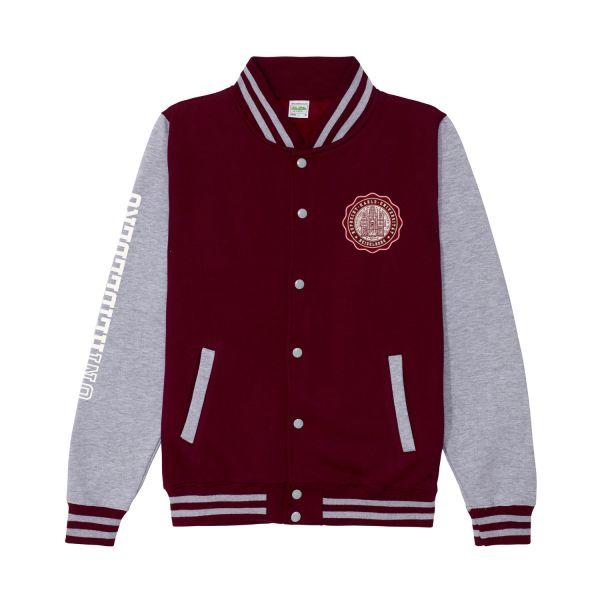 Unisex College Jacket, burgundy/heather grey, seal