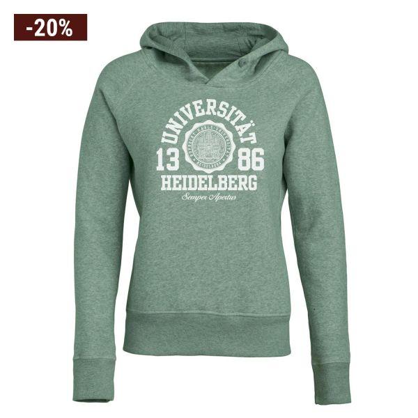 Damen Organic Hooded Sweatshirt, heather green, marshall