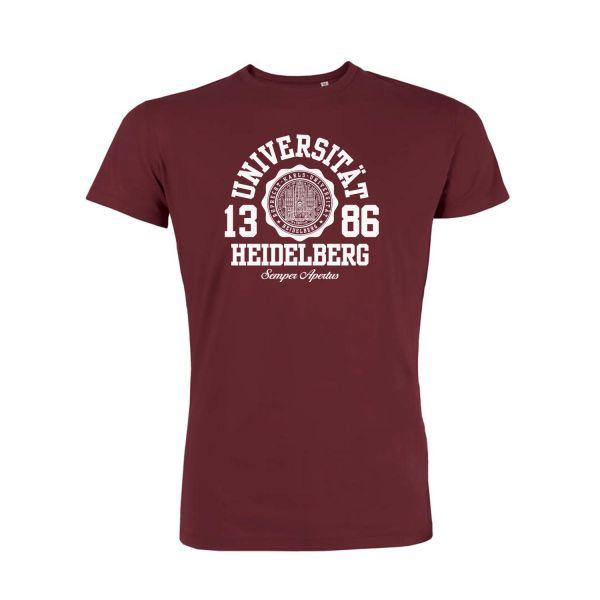 Herren Organic T-Shirt, burgundy, marshall