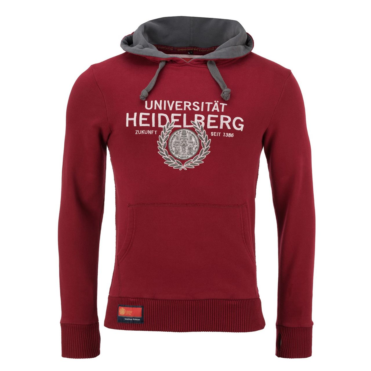 Limited Hooded Sweatshirt, burgundy/grey, exclusive