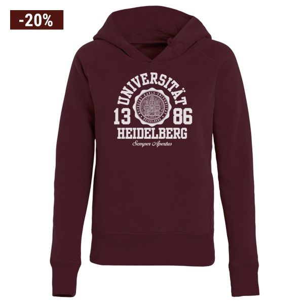 Damen Organic Hooded Sweatshirt, burgundy, marshall