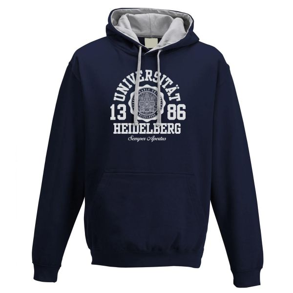Unisex Contrast Hooded Sweatshirt, navy/grey, marshall