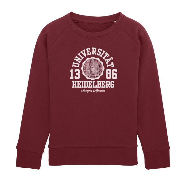 Kids Organic Sweatshirt, burgundy, marshall